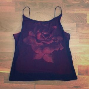 Red flower sparkly top